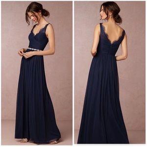 Anthro BHLDN Fleur Navy Blue Bridesmaid Dress